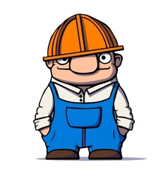 Funny cartoon worker builder plumber vector