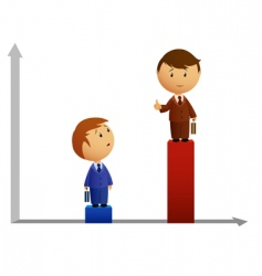 Two businessmen's with graph vector