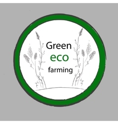 Organic farm eco green label vector