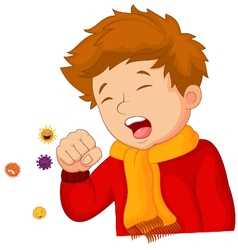 Little boy coughing on white background vector