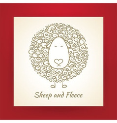 Hand drawn gold sheep and fleece vector