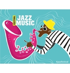 a Jazz poster with saxophonist vector image