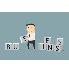 Businessman building a new business vector