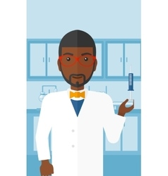 Doctor with syringe in laboratory vector