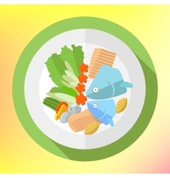 Plate fish salad flat icon vector