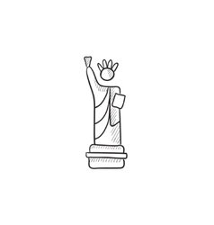 Statue of liberty sketch icon vector