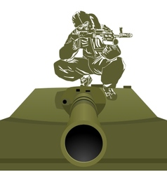 A soldier on the tank vector image vector image