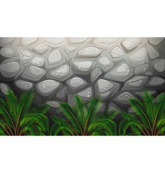 A stonewall with plants vector