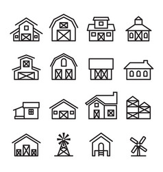 Barn farm building icon in thin line style vector