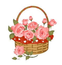 Basket with bunch of roses vector image vector image