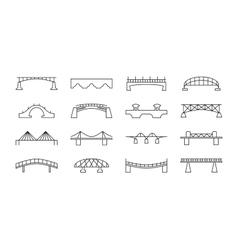 Bridges thin line icons set vector