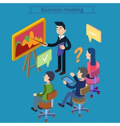 Business meeting team working man with tablet vector
