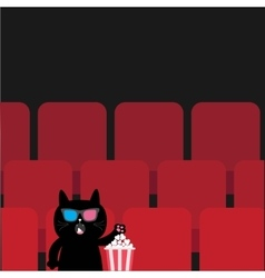 Cat in 3d glasses sitting in movie theater eating vector
