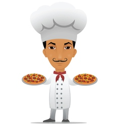 chef with two pizzas vector image vector image
