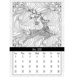 Christmas deer handdrawn calendar april 2018 year vector