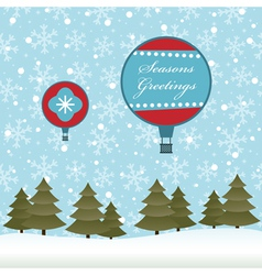 christmas hot air balloon vector image vector image