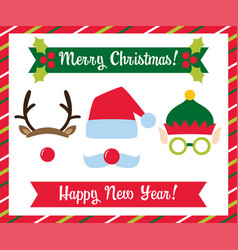 Christmas photo booth collection vector