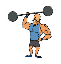 circus strong man mustache dumbbell vector image