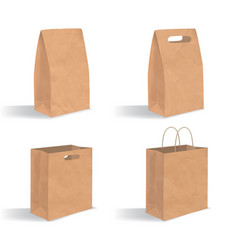 collection of empty brown paper bag with handles vector image vector image