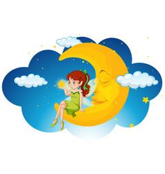 Cute fairy sitting on the moon vector