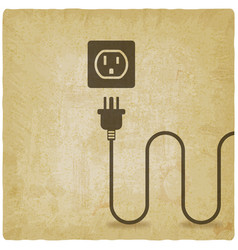 Electric wire with plug near outlet old background vector