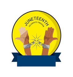 Emblem of hands with chain and ribbon to celebrate vector
