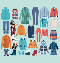 fashion collection of winter woman wardrobe vector image