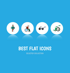 Flat icon cripple set of equipment wheelchair vector
