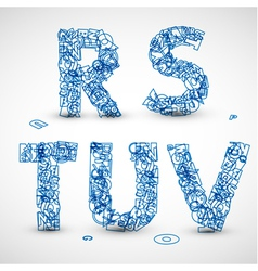 font made from blue letters vector image vector image