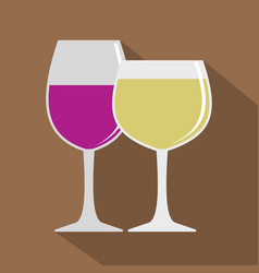 Glasses with red and white wine icon flat style vector