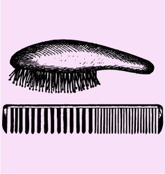 hair brush comb vector image vector image