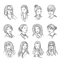 hand drawn peoples with funny smiling faces and vector image vector image