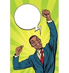 happy African businessman winner emotions vector image vector image