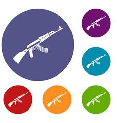 kalashnikov machine icons set vector image vector image