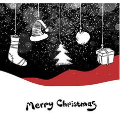 Merry Christmas postcard Christmas gifts and ball vector image vector image