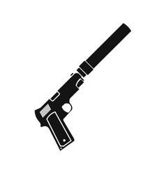 Pistol with silencer black simple icon vector