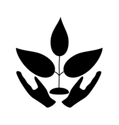 plant and hand the black color icon vector image vector image