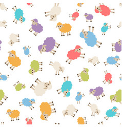 Seamless pattern with colorful sheep vector