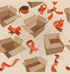 seamless pattern with vintage ribbons and boxes vector image vector image