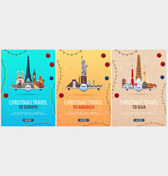 Set of christmas travel posters to america europe vector