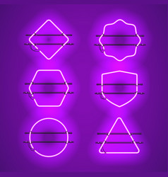 set of realistic glowing purple neon frames vector image vector image
