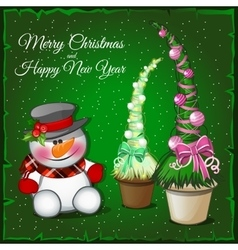 Snowman and associated spruce green vector image vector image