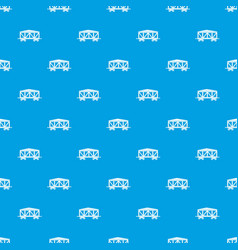Train cargo wagon pattern seamless blue vector
