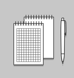 two spiral notebook and white ballpoint pen vector image