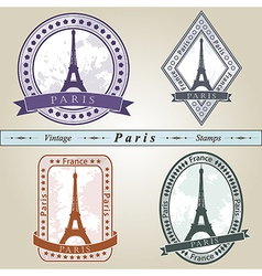 Vintage stamp paris vector