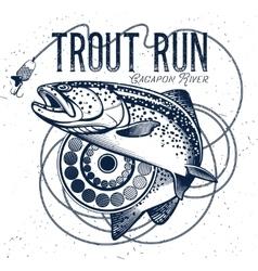 Vintage trout fishing emblems vector