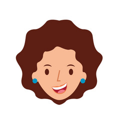 woman face smiling character with earrings vector image