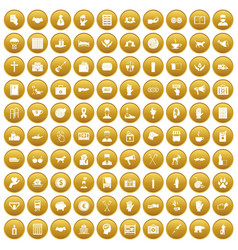 100 donation icons set gold vector