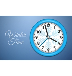Winter clocks on cold blue wall vector