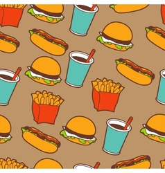 Fast food seamless pattern in retro style vector image